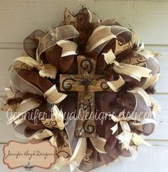 Rustic Western Cross and Scroll Print Everyday Deco Mesh Wreath with Burlap via Etsy