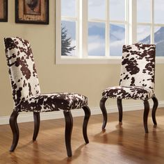 Lorell Brown Cow Hide Nailhead Upholstered Traditional Dining Chairs.