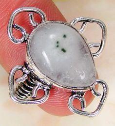 Solar Quartz & 925 Silver Handmade Stylish Ring Size N & gift-box