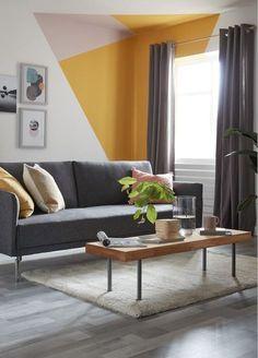 Bedroom Wall Designs, Home Decor Bedroom, Living Room Designs, Living Room Decor, Home Room Design, Home Interior Design, Interior Decorating, Geometric Decor, Geometric Wall Paint