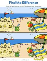 Compare these two beach scenes to find the differences. #prek #earlylearning #printables