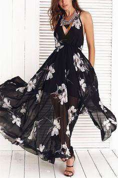 $17.79 Floral Print Spaghetti Strap High Slit Chiffon Dress