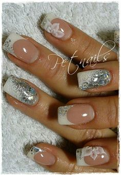 Pink and white with silver glitter and nail stamping nail art NaiLs: FreNch/BriDaL  | Nail nail stamping