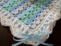 New Handmade Crochet Baby Blanket Afghan White Green Blue Newborn | eBay