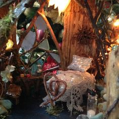 Minature Fairy House with lights by MagicalFairies on Etsy