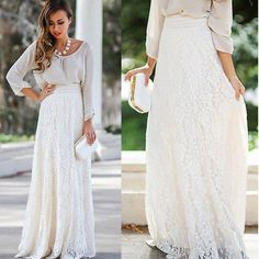 Material: Polyester Material: Lace Style: Casual Decoration: Lace Pattern Type: Solid Waistline: Natural Dresses Length: Floor-Length Gender: Women