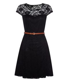 Look what I found on #zulily! Black Lace Belted Cap-Sleeve Dress by Iska London #zulilyfinds