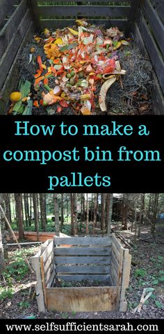 Compost build your own pallet compost bin - No money for a fancy compost bin? This pallet compost bin can be made for free or very cheap! Outdoor Compost Bin, Garden Compost, Vegetable Garden, Diy Compost Bin, Composting Bins, Allotment Gardening, Organic Gardening, Gardening Tips, Making A Compost Bin
