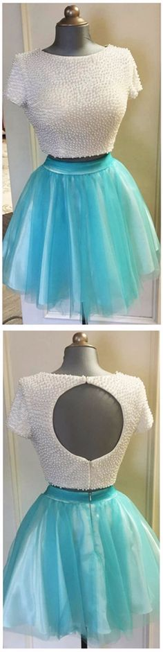 Homecoming Dresses Information about Amazing A line Scoop Neckline 8th Grade Prom Dresses Sweet 16 Party Short Pearls Backless Two Piece Homecoming Dress 2016,High Quality dresses