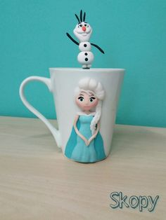 Princess Elsa and Olaf polymer clay mug