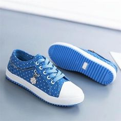 Cute Blue White Dots Flat Shoes Casual Shoes Outfit Accessories From Touchy Style Flat Shoes Outfit, High Heels Outfit, Slip On Shoes, Casual Shoes, Trendy Shoes, Sports Shoes For Girls, Girls Shoes, Shoes Women, Womens Fashion Sneakers