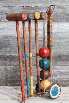 vintage croquet set old wood croquet balls u0026 mallets w wire caddy cart - Croquet Set