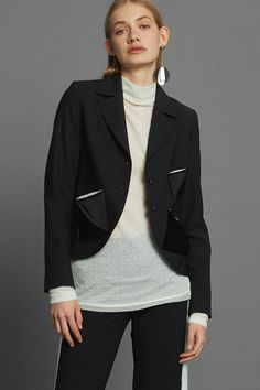 Patch Petite Jacket - Black Minimal Beauty, Aw17, Winter White, Luxury Fashion, Dressing, The Incredibles, Blazer, Jackets, Collection