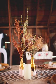 natural centerpieces // photo by Simply Rosie // View more: http://ruffledblog.com/intimate-minnesota-wedding/