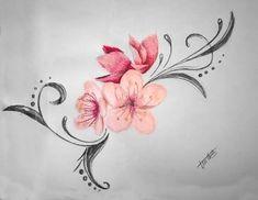 Resultado de imagem para tatuajes de flores Time Tattoos, Body Art Tattoos, I Tattoo, Cool Tattoos, Tatoos, Tiny Flower Tattoos, Pink Rose Tattoos, Sleeve Tattoos For Women, Tattoo Images