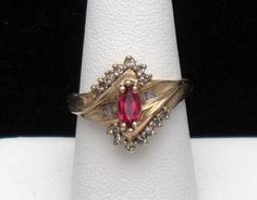 10K Genuine Diamond and Simulated Ruby Ring  http://stores.ebay.com/atouchofrosevintagejewels