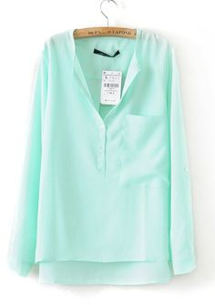 Turquoise+Collarless+Dipped+Hem+Long+Sleeve+Blouse+with+Front+Pocket+US$19.99