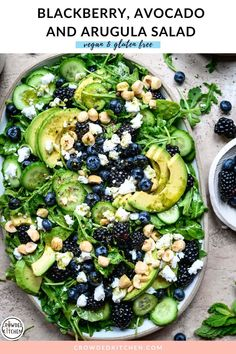 This quick & easy summery salad makes the most of fresh produce with an arugula base, fresh blackberries, blueberries, cucumber, avocado, hazelnuts, vegan feta and a lime mint vinaigrette. Make it in less than 15 minutes for the perfect summer side dish! Arugula Salad Recipes, Side Salad Recipes, Vegetarian Salad Recipes, Summer Salad Recipes, Salad Recipes For Dinner, Dinner Salads, Summer Salads, Healthy Recipes, Healthy Summer