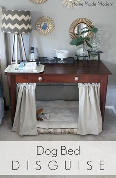dog bed under desk; best thing Ive ever done for our furry family member. He…