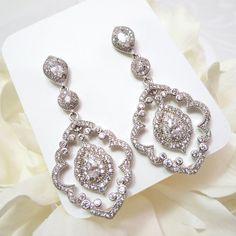 Victorian Bridal Jewelry Set Chandelier Wedding Earrings Cz ...