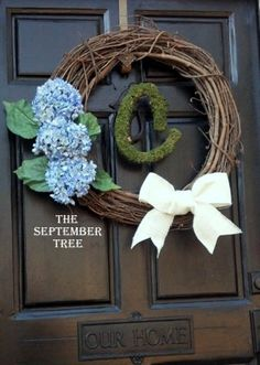 Hydrangea personalized moss burlap wreath 22 by TheSeptemberTree, $49.00