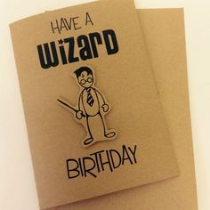 Cute handmade Harry Potter Inspired wizard Birthday card