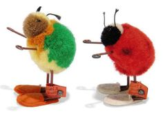 TWO STEIFF POM-POM BEETLES IN SLIPPERS, Ladybird, (1507,1), red, black and white wool; and Beetle, (1507,3), green, yellow and brown, FF buttons and red cloth tags, 1938-43 --2in. (5cm.) and 2¼in. (5.5cm.) high (2)