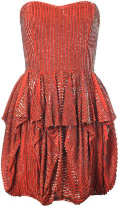 French Connection Brown Samara Sequins Strapless Dress