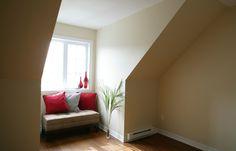 Sofa in nook in attic