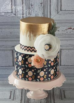 Metallics and Wafer Paper - Cake by AlwaysWithCake