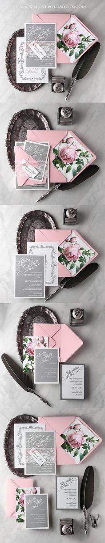 Peonie Wedding Invitations Floral Printing #weddingideas #weddinginvitations