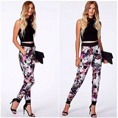 Missguided multi color floral print scuba joggers Adorable scuba joggers / sweat pants / track pants from Missguided in a gorgeous white gray black pink purple green yellow and red floral print (main colors are black grey white pink and purple). Very warm, perfect for fall! Size tag was removed but said it was a US size 0-2, however they are SUPER stretchy and easily fit a size 4 as well (I am size 4 and they fit perfectly). Brand new, only worn once. ‼️Price is pretty firm unless bundled‼️…