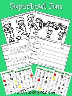 Free Football Pack pages great for the Superbowl - These can be found in part 4. You can color the players and cheerleaders, 2 different ways to keep track of the score and a fun bingo for them.