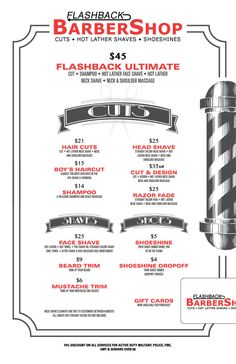 barber shop services menu - Google Search