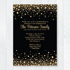 Cocktail Wedding Reception Invitation Wording Elegant Gold and Black Confetti Cocktail Party Invitation Wel E to Wedding Reception Invitation Wording, Gala Invitation, Cocktail Party Invitation, Wedding Invitation Templates, Party Invitations, Invitation Ideas, Invites, Happy Hour, Gatsby