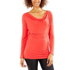 Tee-shirt à col bénitier rouge Femme