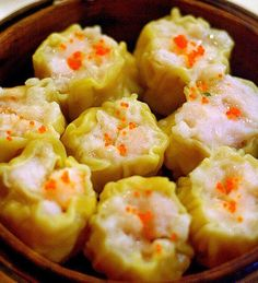 燒賣 (pronunciation: siu1 maai6). Steamed pork and shrimp dumplings.