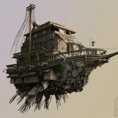 "Steampunk airship zeppelin Joana Garrido, WIP for the series ""Buildings have feelings too, 2010 Steampunk Ship, Steampunk Kunst, Norman Rockwell, Machine Volante, Estilo Tim Burton, Flying Ship, Tecno, Environmental Art, Sci Fi Art"
