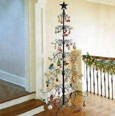 Gold or Black Metal Elegant Scroll Christmas Ornament Display Tree Decor 3 Sizes Wine Bottle Christmas Tree, Cork Christmas Trees, Christmas Star, White Christmas, Christmas Ornaments, Christmas Ideas, Xmas Tree, Christmas Projects, Holiday Ideas