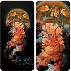 This jellyfish-skull would make for a cool tattoo! By Dmitriy Samohin. Would never get that as a tattoo, but it looks neat. Wicked Tattoos, Badass Tattoos, Cool Tattoos, Gorgeous Tattoos, Arm Tattoos, Skull Tattoos, Tattoo Ink, Jellyfish Tattoo, Worlds Best Tattoos