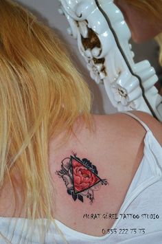 triangle tattoo triangle rose tattoo black and red rose tattoo '' tattoo artist by Murat GÜREL '' manisa dövme