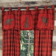 Moose & Bear Red Plaid Valance