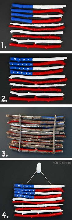 An easy American flag craft for kids that uses sticks and twigs. Perfect for of July, Memorial Day or Flag Day. at Non Toy Gifts Patriotic Crafts, July Crafts, Summer Crafts, Holiday Crafts, Holiday Fun, Patriotic Party, Summer Fun, Memorial Day, Banner Design