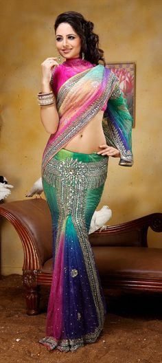 77374: #Lehengasaree #StoneWork #Multicolor #Bridalwear #Sale