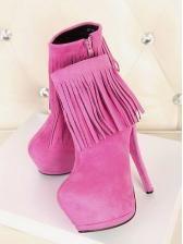 High waterproof Taiwan tassels high heel short boots  $ 18.84