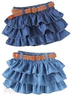 Džínová sukýnka s páskem Frock Design, Baby Dress Design, Frocks For Girls, Dresses Kids Girl, Kids Outfits, Baby Frocks Designs, Kids Frocks Design, Vestidos Country, Denim Fashion