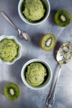 Refreshing Kiwi Lime Sorbet using just 3 ingredients! A mouthwatering treat perfect for summer and that bikini bod.