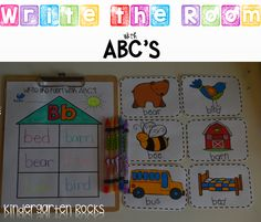 Writing Activities for Kindergarten.  Write the room with ABC's is great for word work centers all year long!