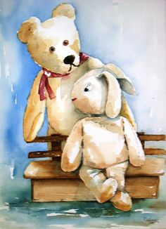 Bear & Bunny.  My husband loves bunnies and I love bears.  Its so cool when I find them together!
