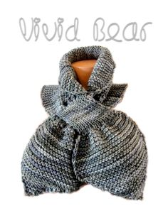 Knit Keyhole Scarf. Hand Knitted Cowl. Grey Shades or 44 different colors. Warm Women's Scarf. Neck Warmer. Autumn Fall Winter Accessory. by VividBear on Etsy